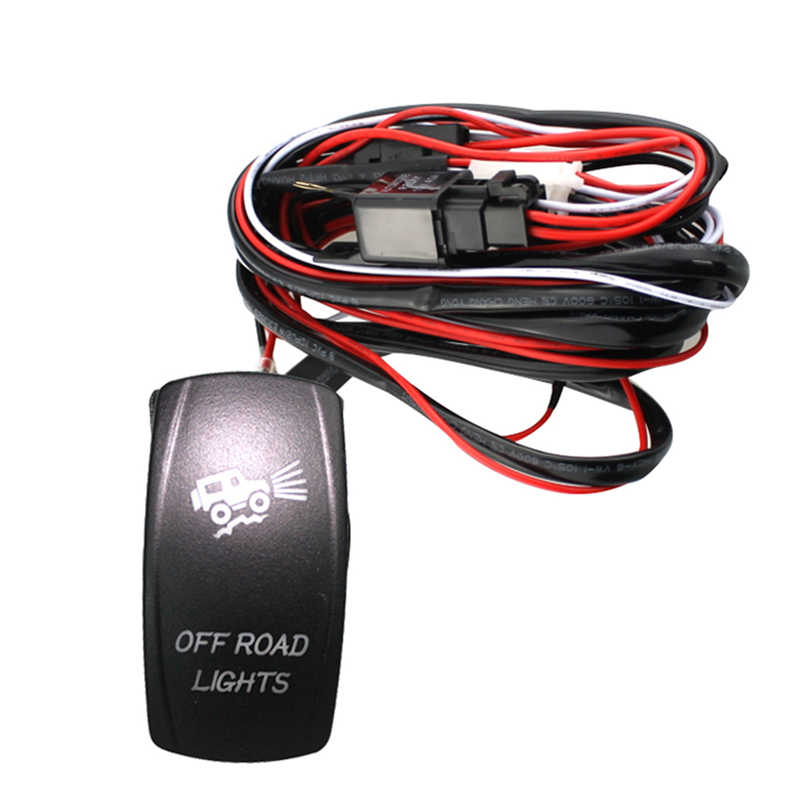 40A 300W Wiring Harness Kit LED Light Bar Laser Rocker Switch Fuse Off Road Wiring Harness Kits on