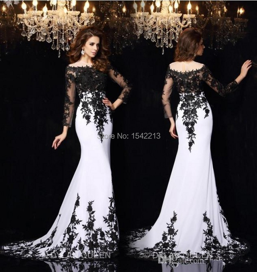 Charming Black Lace On White Long Sleeves Mermaid Evening Dress