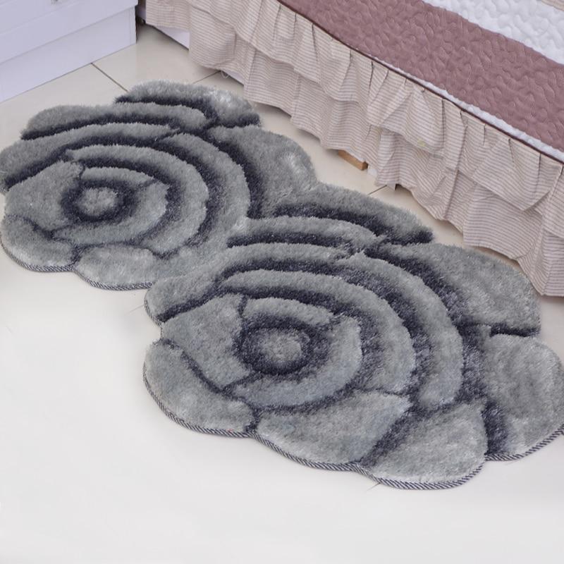 Nouveau tapis créatif en forme de fleur Europe 3D Double Rose tapis pour décorer salon chambre délicate tapis doux personnel - 5