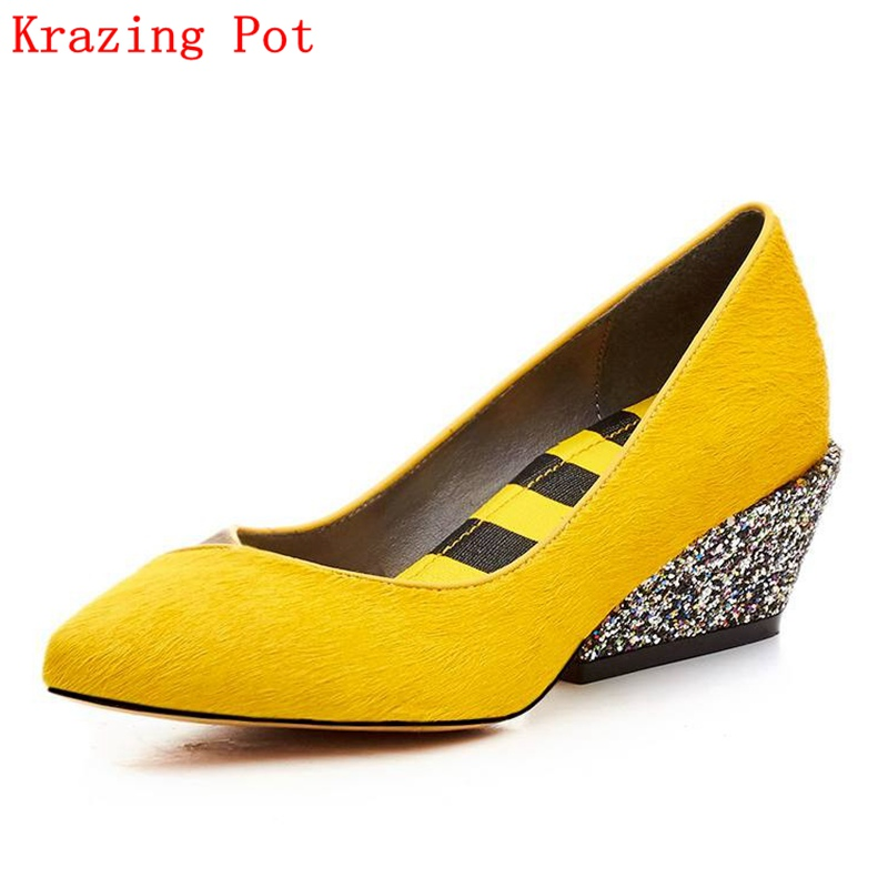 2017 Fashion Brand Spring Shoes Mixed Color High Heel Slip on Women Pumps Pointed Toe Horsehair Luxury Party Causal Shoes L17  2017 women lady shoes flat heel spring autumn boat pointed toe slip on casual simple mixed color pink yellow blue black red