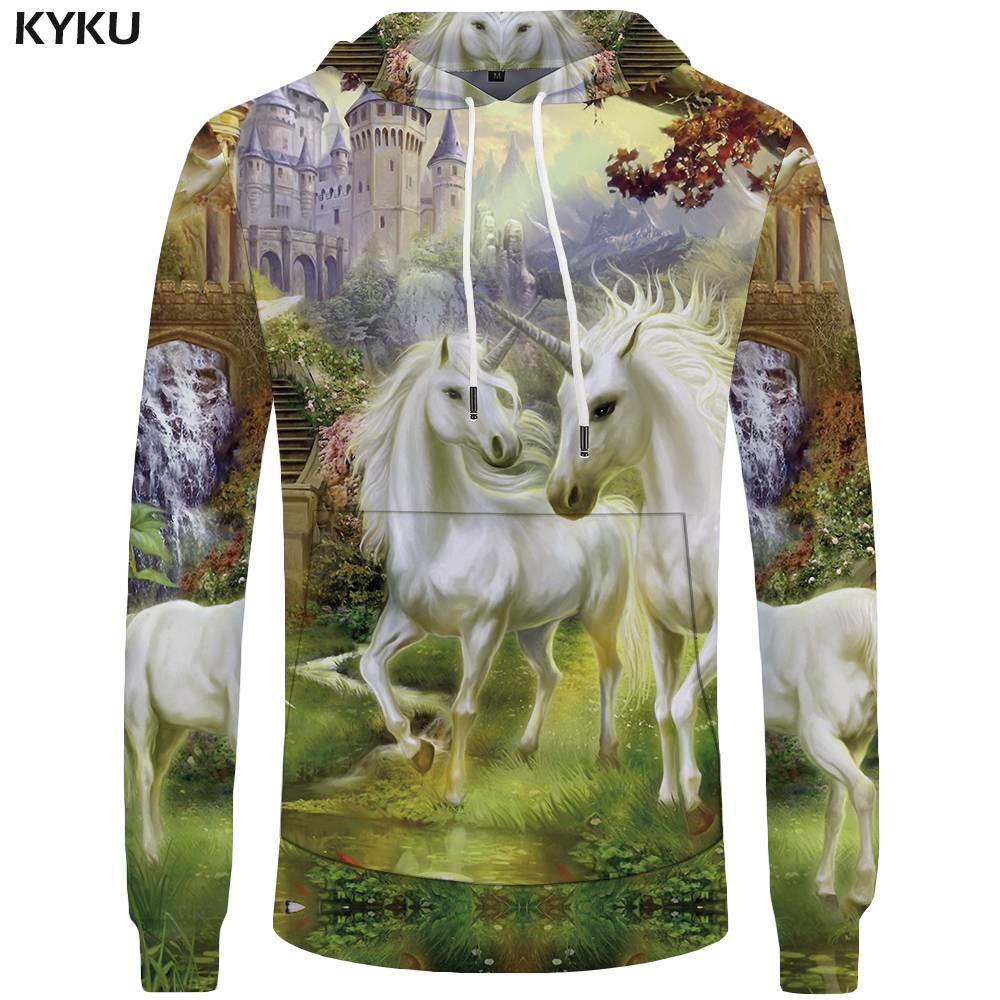 KYKU Unicorn Hoodies Men Castle 3d Hoodies Two Sweatshirt Love Sweatshirts Mens Clothing Pocket Hoddie Hooded New