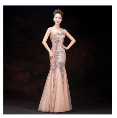 3b0afee2439 bride long formal tube top fish tail elegant sexy slim Sequined black red  pink green