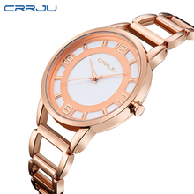 CRRJU New Fashion Silver Women Watch Rose Gold Steel Quartz Bracelet Watches Ladies Waterproof Luxury Wristwatch Relojes 2016