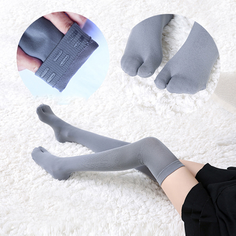 ①  1 пара Tabi Спортивные чулки Женские нейлоновые компрессионные плотные длинные носки над коленом 2-T ①