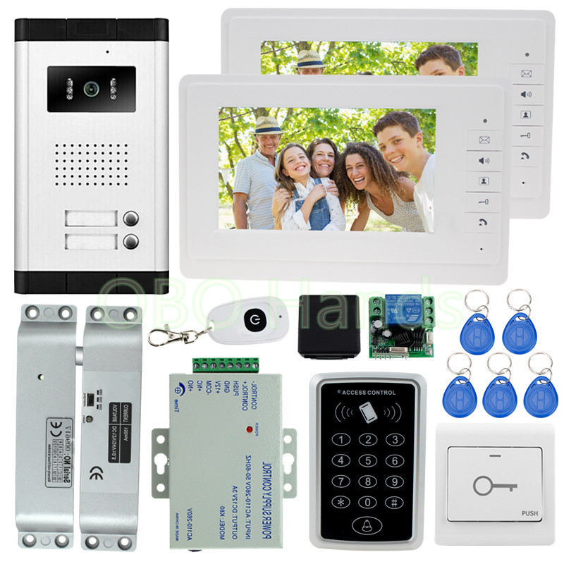 New brand 7'' color video door phone intercom doorbell system with rfid access control keypad +electric bolt lock for apartments free shipping 7 lcd video door phone intercom system 2 screens rfid access code keypad password camera electric control lock