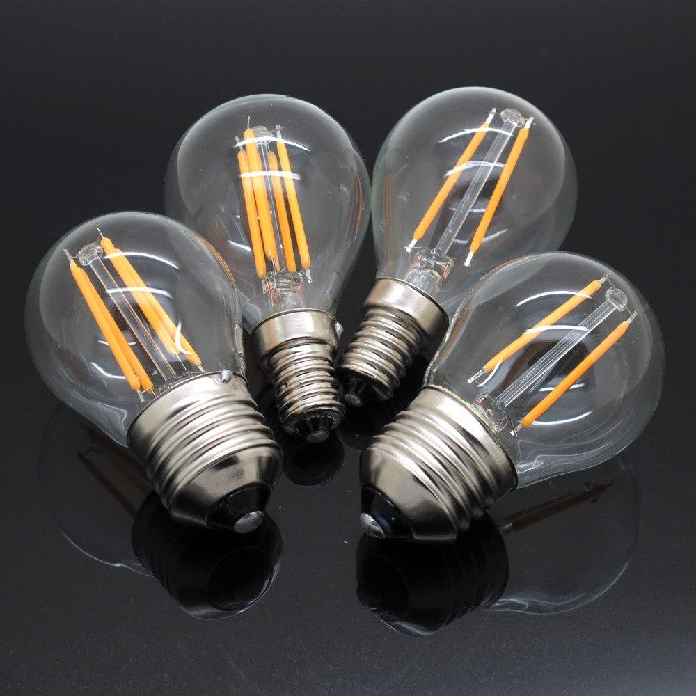 G45 4 W 8 W Dimmable LED Filament Lumière 110 V 220 V E14 E27 Edison  Vintage Led Verre Ampoule Remplacer 20 W 40 W À Incandescen.