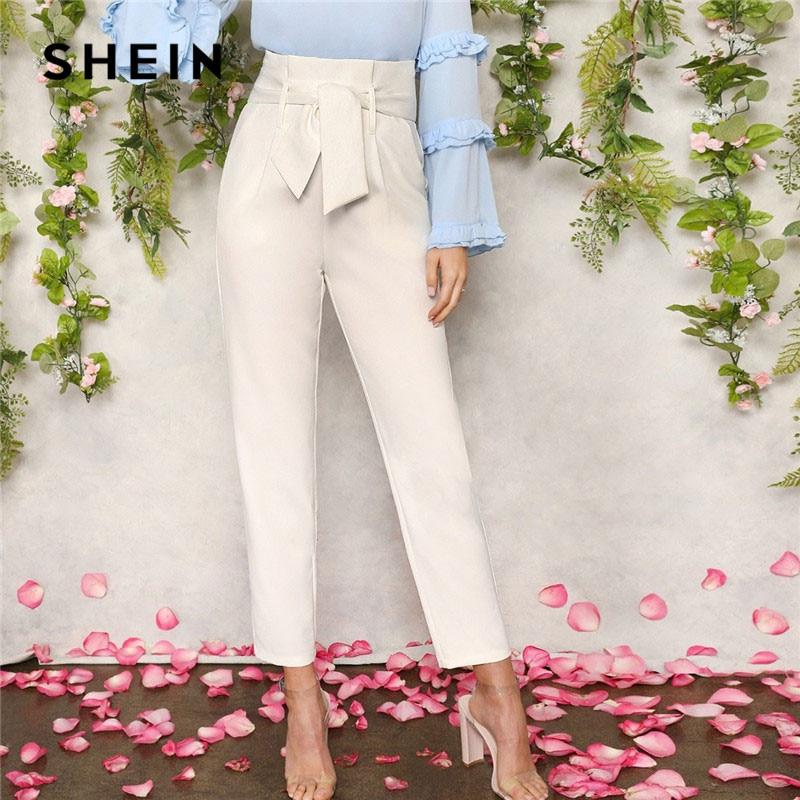 SHEIN Women White Elegant High Waist Self Belted Carrot Plain Pants 2019 Spring Office Lady Basic Workwear Women Trousers