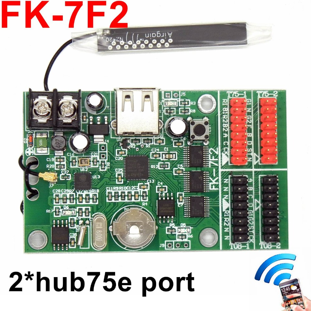 FK-7F2 wifi full color LED control card USB asynchronous led controller with 2*hub75 port <font><b>768</b></font>*<font><b>32</b></font> pixels for P3,p4,p5,p10 module image