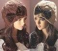 Inverno mulheres Menina Arco Gorro de Malha Crochet Ski Hat Cap desleixo H1012