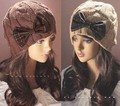 Women Girl Winter Bow Beanie Knit Crochet Ski Hat slouch Cap H1012