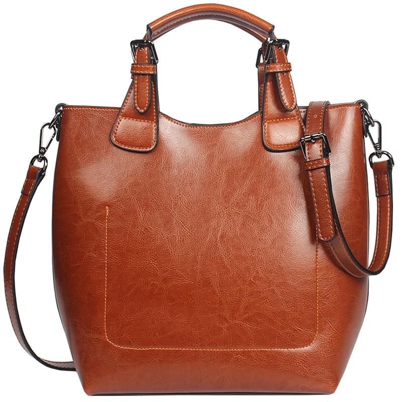 Moda mujer bolso de hombro 100% cuero genuino clásico cubo bolso señora Casual bolso de mano de alta calidad-in Bolsos de hombro from Maletas y bolsas    1