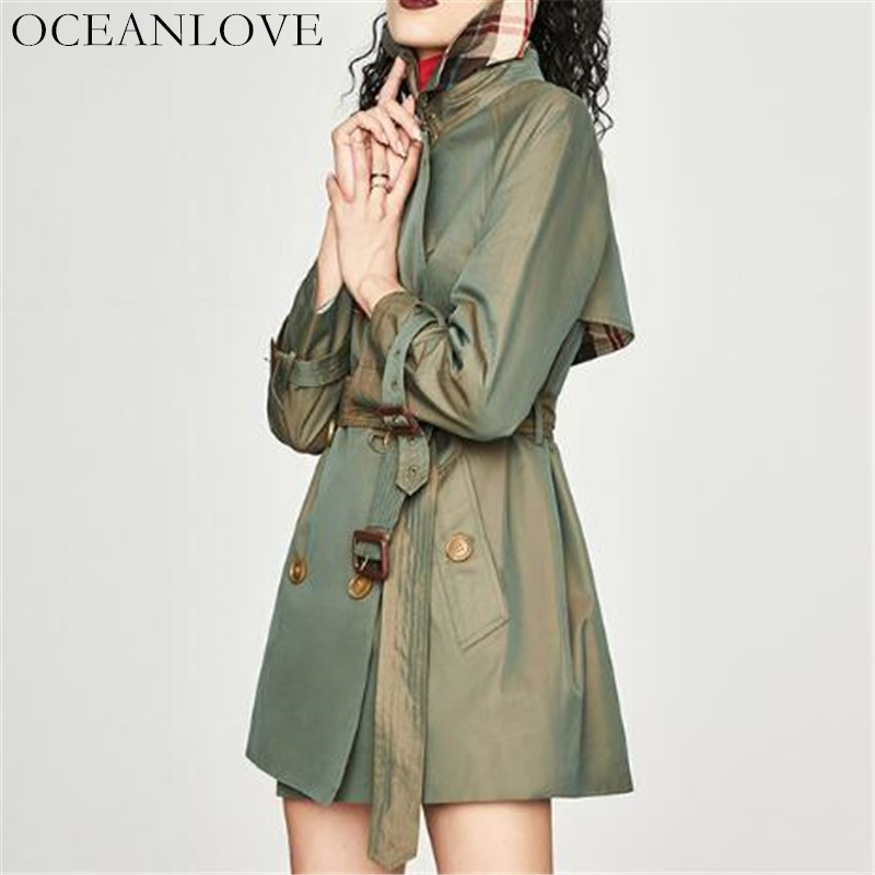 Green Femmes Oceanlove Hiver Breasted Coréenne Mince Double Tranchée Automne Turn Col Solide khaki Chic Vêtements Pour Manteau 10392 down Bouton GUzVSpqM