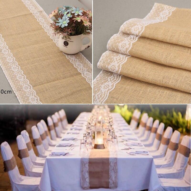 30 cm * 180 cm camino de mesa de encaje arpillera arpillera natural mantel para