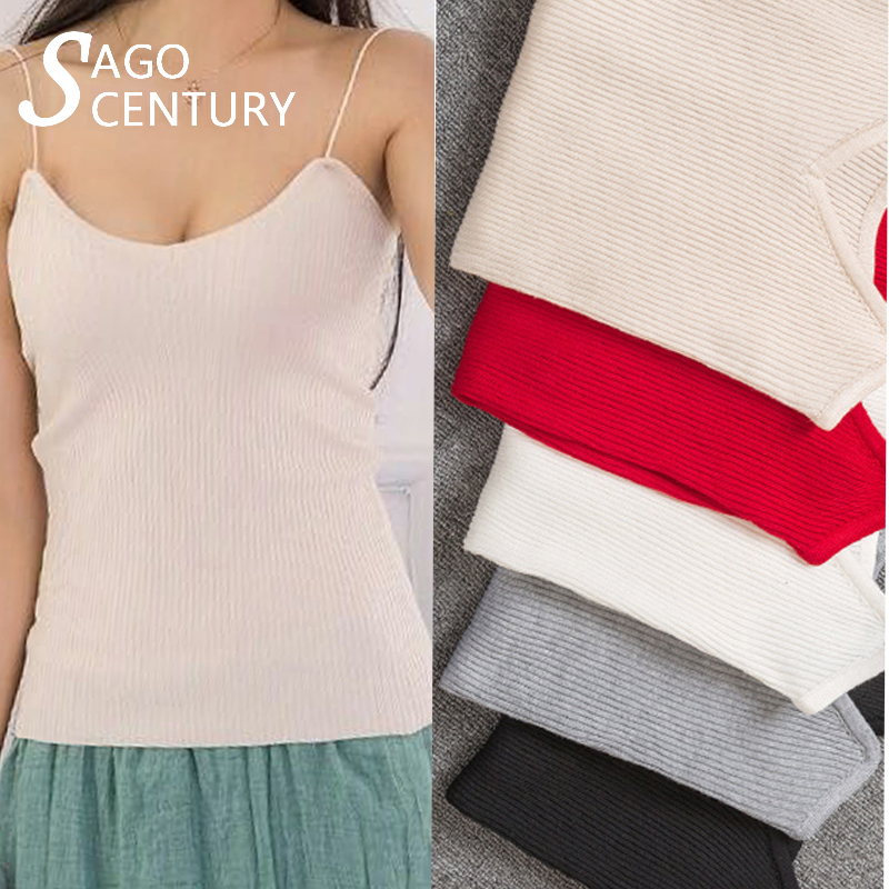Summer Women Knitted Sleeveless Ladies Camisole Tank Tops Stretchable Slim Vest V-Neck Simple Camis Plain Strappy Sexy