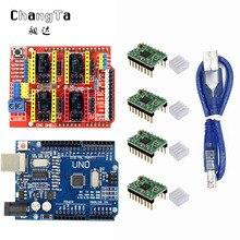 CHANGTA CNC Kalkanı genişletme kartı V3.0 + UNO R3 Kartı usb ile Arduino + 4 adet Step Motor Sürücü A4988 arduino için kitleri