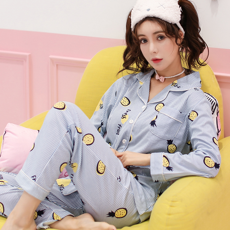 Pineapple Cherry Strawberry Bear Spring Autumn Long Sleeved Cotton Women's Pajamas Set Girl Sleepwear Pyjamas Home Clothing XXXL