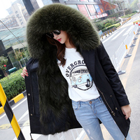 Fashion Women S Army Green Large Real Raccoon Fur Hooded Warm Coat Parkas Outwear Natural Fox