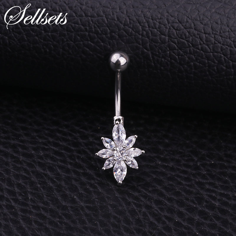 Sellsets Stainless Steel Navel Piercing Helix Belly Button Rings Wholesale Aaa Cubic Zirconia Flower Body Jewelry