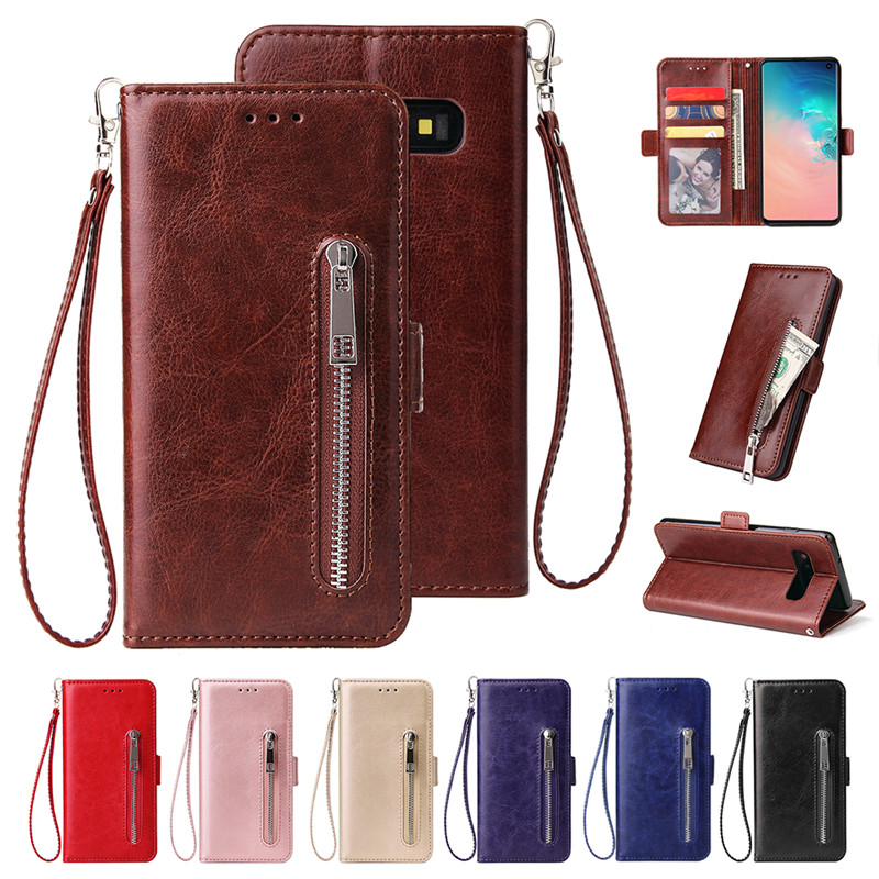 Case For Samsung Galaxy S8 S9 S10 J4 J6 Plus 5G S10E Note 8 9 10 + J3 J7 J8 2018 J5 2017 Wallet Zipper Leather Flip Etui Cover