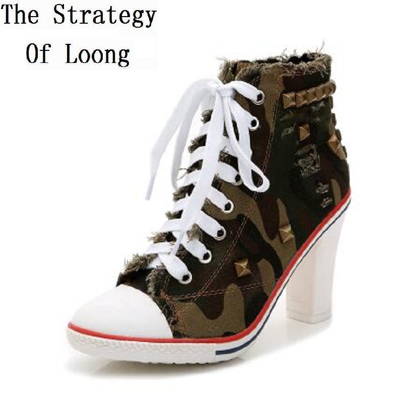 Spring Autumn Women Pointed Toe Rivets Denim Short Boots 2016 New Fashion Casual Winter High Heels Lady Jean Ankle Boots