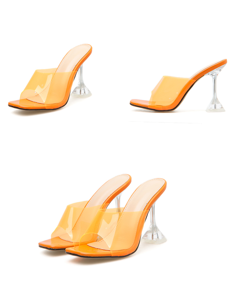HTB1M0oSXrj1gK0jSZFuq6ArHpXaY Eilyken Orange Silver PVC Jelly Slippers Open Toe High Heels Women Transparent Perspex Slippers Shoes Heel Clear Sandals Size 42