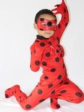 2017 Nueva La Milagrosa Niñas Mariquita Marinette Niño Mariquita Mariquita Cosplay Disfraces de Halloween Spandex Lycra Zentai Traje Completo(China (Mainland))