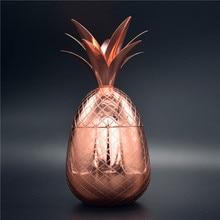 American pineapple mug cocktail stainless steel cup snack fruit salad bronze drinkware