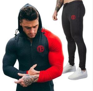 Image 2 - 2019 gimnasios nuevo chándal pantalones de hombre conjuntos de sudadera de moda trajes de sudor marca heren Kling casual fitness prendas de vestir jogger set