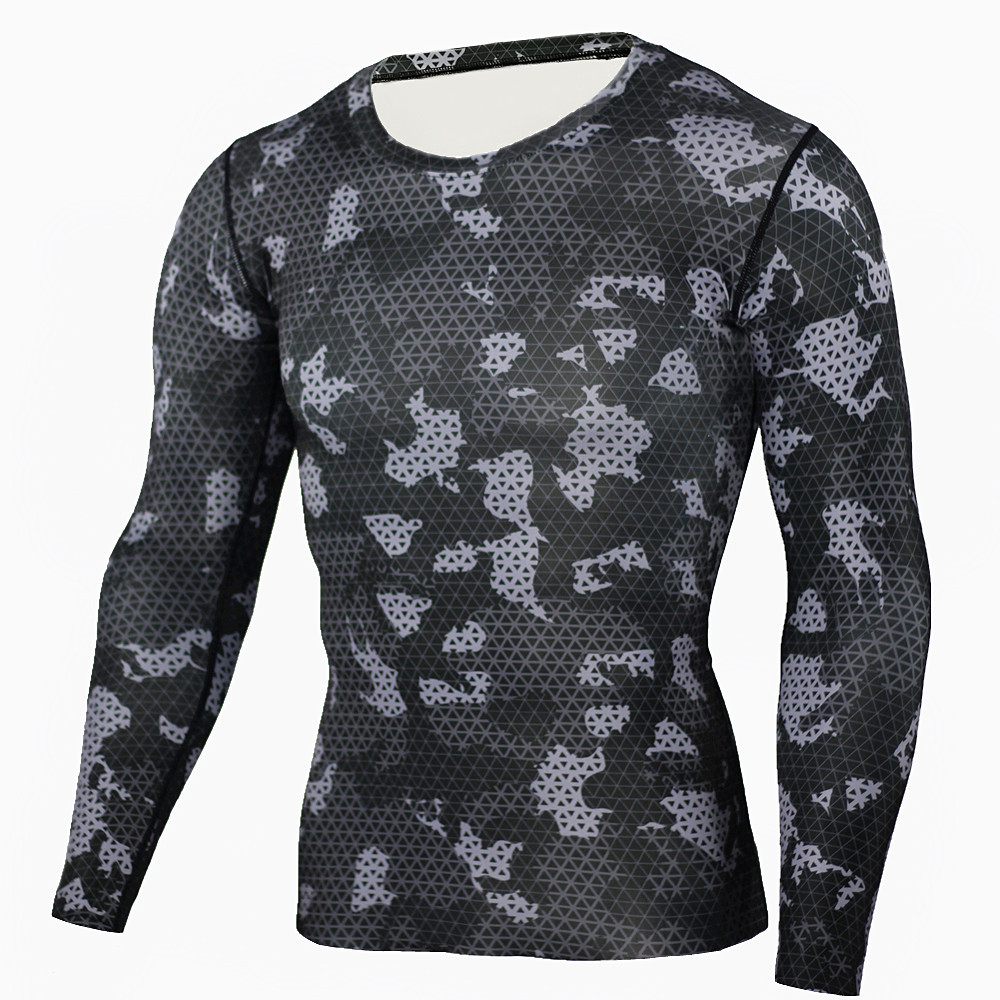 ZYMFOX Men Running Sports T Shirt Long Sleeve fitness Quick Dry Compression Running T-Shirt Quick Dry Workout Jogging Tights