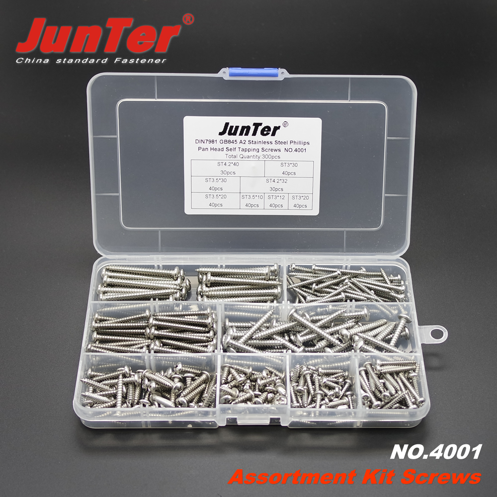 300pcs DIN7981 A2 Stainless Steel Phillips Pan Head Self Tapping Screws Assortment Kit NO.4001 stainless steel sems screws m3x8 pan head 1 phillips driver polished rohs