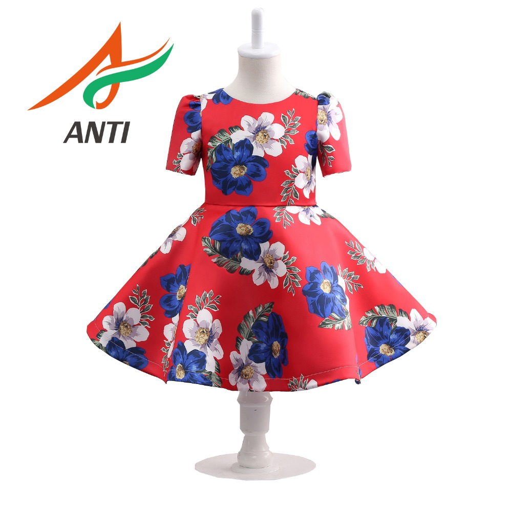 ANTI Hot Sale Red Baby   Girl   Printing Satin   Dress   Party Princess   Dress   Children kids clothes 9 colors 3-14yrs   Flower     Girl     Dress