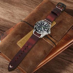 Image 4 - MAIKES בציר פשוט אמיתי עור אביזרי שעון 20mm 22mm 24mm להקת שעון כסף & שחור פלדת אבזם רצועת צמידים