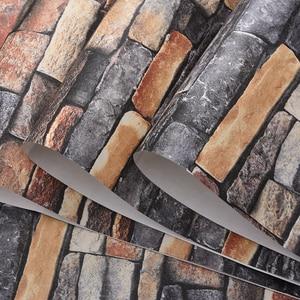 Image 5 - Red,Grey Vintage Rustic Stone Brick Wallpaper Roll Living Room Bedroom Restaurant Background Loft 3d Wall Paper
