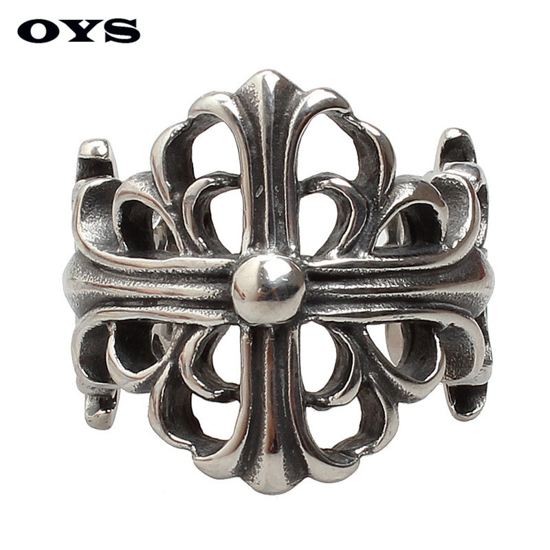 Punk Man Ring Silver Titanium Steel Male Ring High Quality Jewelry 316L Titanium Steel Hollow Cross Rings For Men Ring