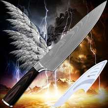 Hot products chef knife 8 inch kitchen knife Damascus pattern blade 7Cr17 stainless steel cooking tools high-grade fashion gift