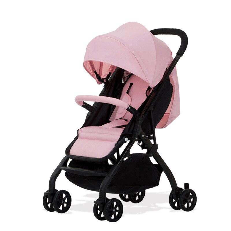 Lightweight Portable Baby Stroller Four Wheels Baby Cart Folding Umbrella Sunshade Pram Can Sit Lie on Baby's Trolley Pushchair