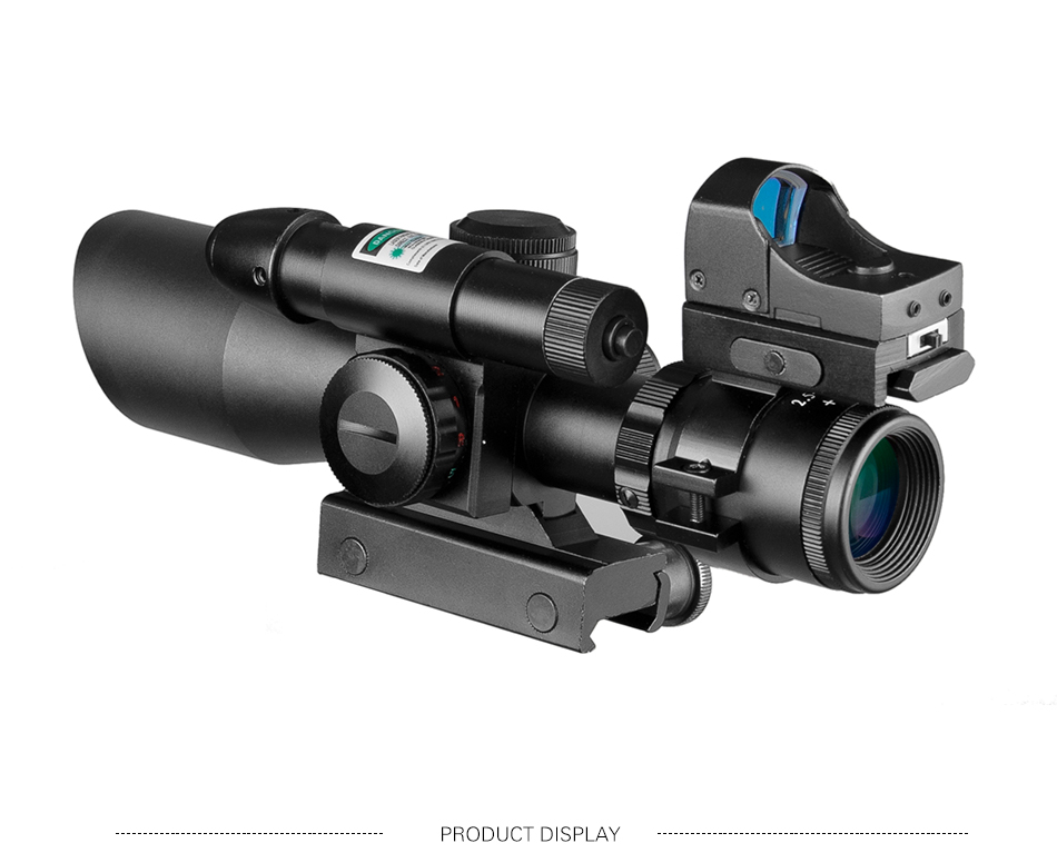 2.5-10x40 tactical rifle scope laser verde iluminado