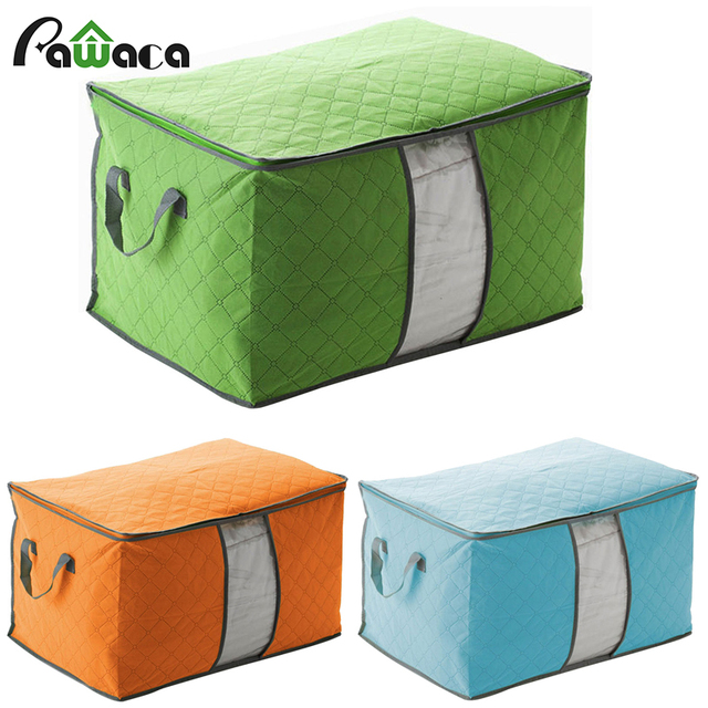 Durable Clothing Quilt Organizer Fabric Zipper Foldable Storage Box Set For  Clothes Toys Household Bedding Storage