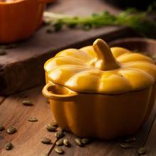 Creative Pumpkin ceramic bowl with lid bake
