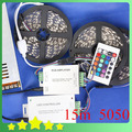 New DIY 15M 5050 RGB LED Strip + 24Key IR Controller + 20A Adapter 5050 RGB LED Strip Light Set Free Shipping