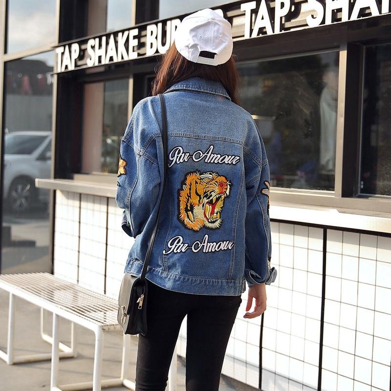 le dernier 84d25 f6b24 2017 Women spring/Autumn Vintage Tiger Embroidered Denim Jacket Lapel Long  Sleeve Single breasted Fashion Basic Coat veste Basic-in Basic Jackets from  ...