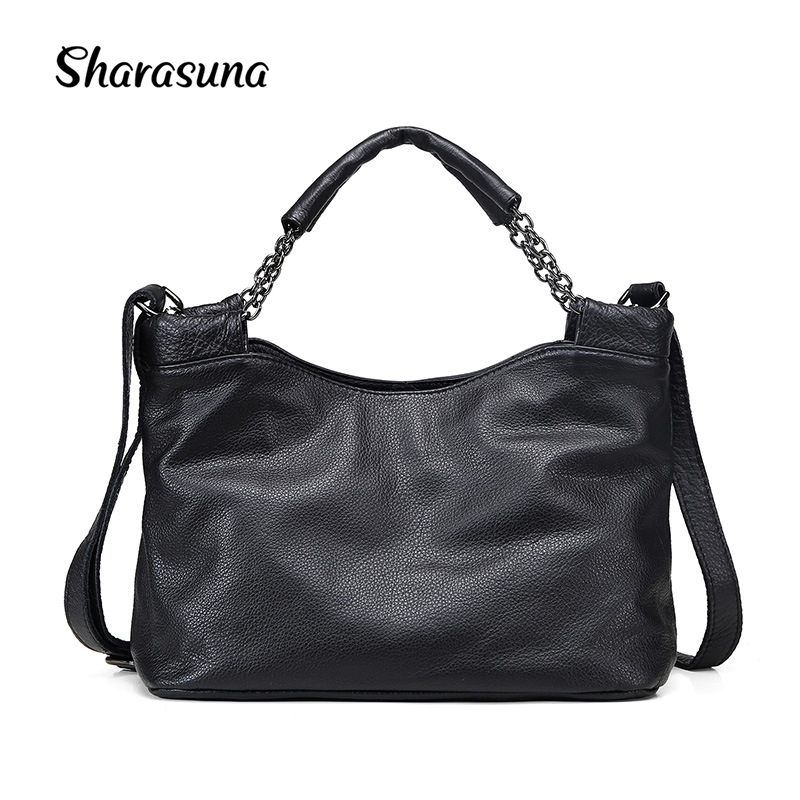 Fashion Ladies Hand Bag Women's Genuine Leather Handbag Black Leather Tote Bag Bolsas femininas Female Shoulder Bag женские блузки и рубашки hi holiday roupas femininas blusa blusas femininas