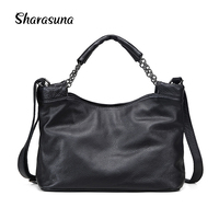 Fashion Ladies Hand Bag Women's Genuine Leather Handbag Black Leather Tote Bag Bolsas femininas Female Shoulder Bag