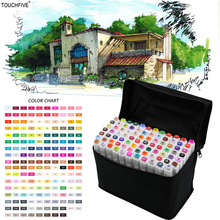 TOUCHFIVE 36/48/72/168 Colors Brush Pen For Draw Manga Animation Design 168 Color Dual Headed Alcoholic Oily Based Ink Marker