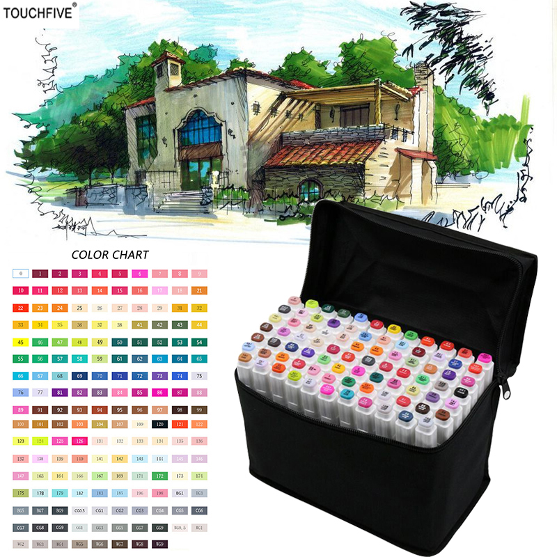 TOUCHFIVE Markers 36/48/72/168 ColorsFor Draw Manga Animation Design 168 Color Dual Headed Alcoholic Oily Based Ink Marker ...