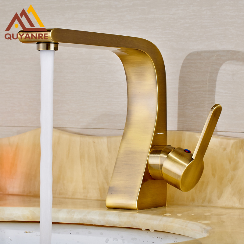 Bathroom Sink Antique Brass Basin Faucet Cold and Hot Water Mixer Tap Single Level Brass Water Tap single handle bathroom faucet basin carving tap swivel sink water tap antique brass hot and cold kitchen mixer faucet with hose