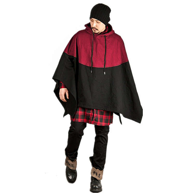 Brand Fashion Men Smart Black Hooded Cloak Jacket Hoodie Oversized Cape  Poncho Cloak Outerwear Jacket Coat Loose Windproof Plaid