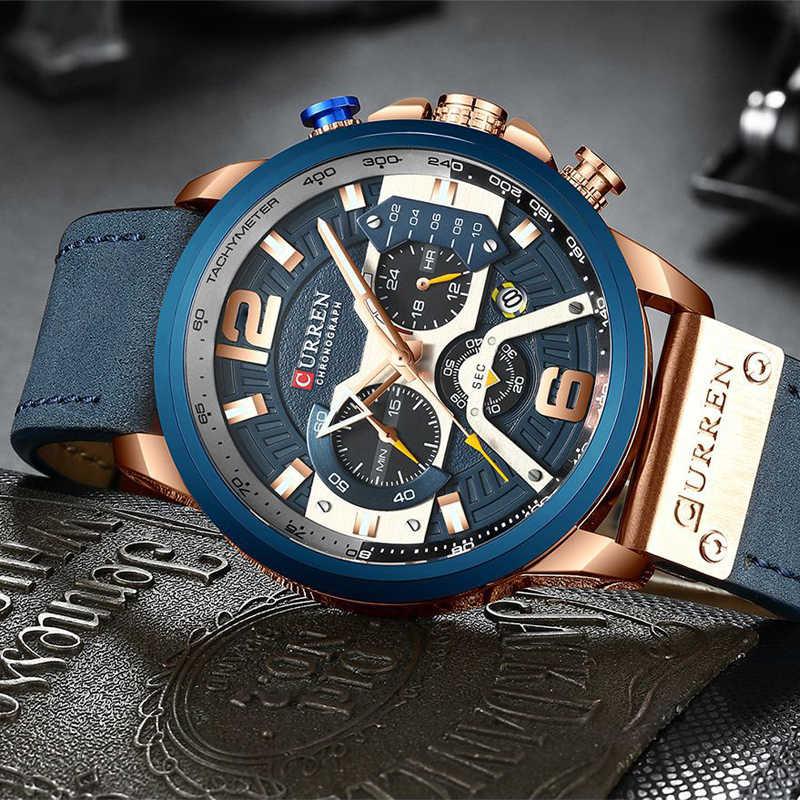 למעלה מותג יוקרה CURREN הכרונוגרף Mens שעונים עמיד למים ספורט קוורץ שעון גברים שעון גבר שעוני יד מפורסם Relogio Masculino