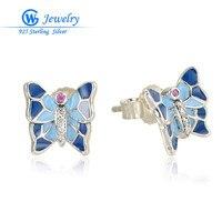 Fashion Jewelry 925 Sterling Silver Austrian Crystal Butterfly Stud Earrings For Women GW Fine Jewelry ER1012