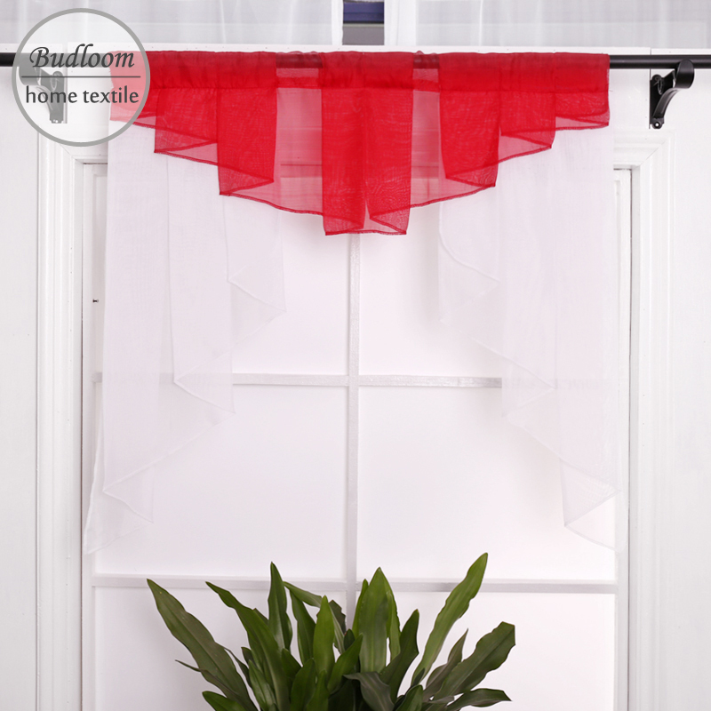 US $8.5 50% OFF Budloom modern style kitchen valance curtains tulle color  pleated short curtains for small window balcony door valance-in Curtains ...